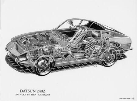 Datsun 240Z cutaway by Shin Yoshikawa.84212735 450x330 - Datsun 240Z Cutaway Drawing by Shin Yoshikawa