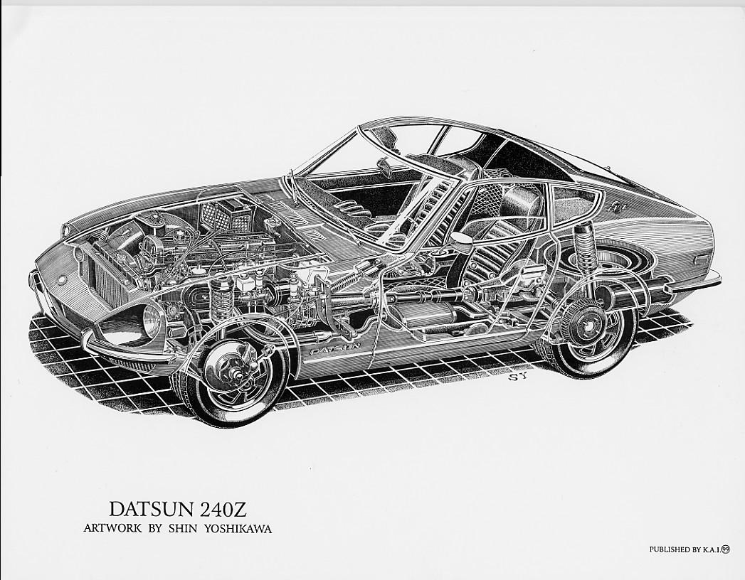 Datsun 240Z cutaway by Shin Yoshikawa