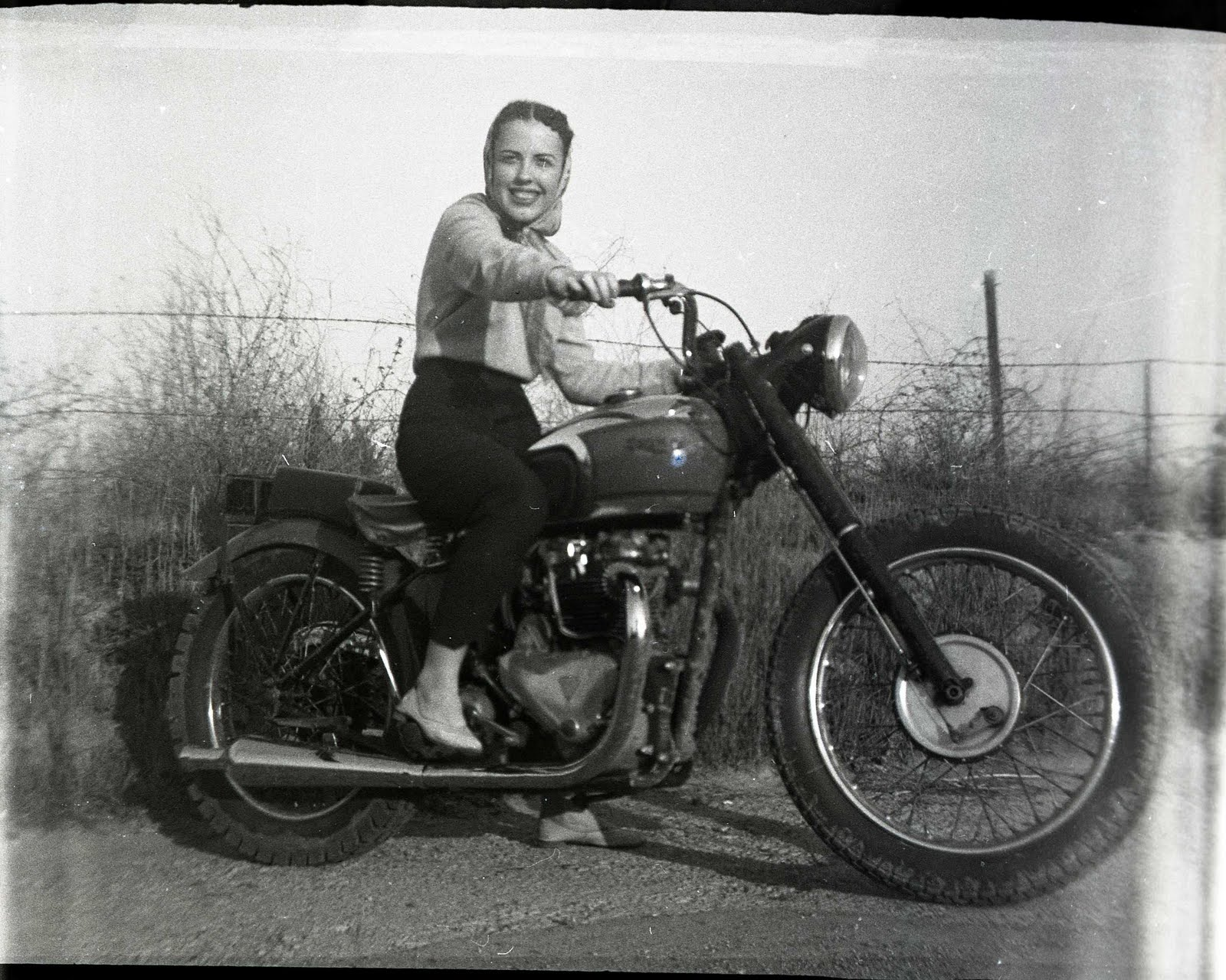 Brunette Woman on a Motorcycle