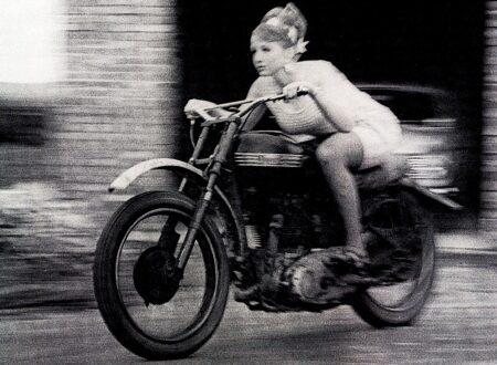 girl biker 450x330 - Fleeing Blonde on a Triumph