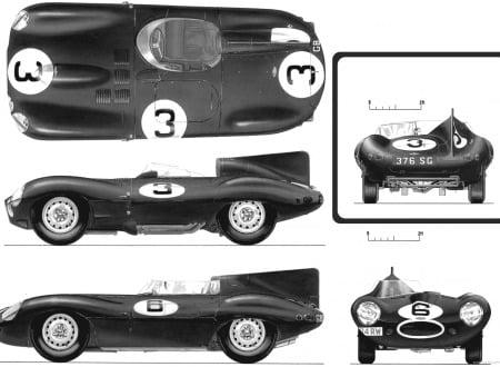jaguar d type 1954 55 lemans 450x330 - D-Type Jaguar - Official Drawings