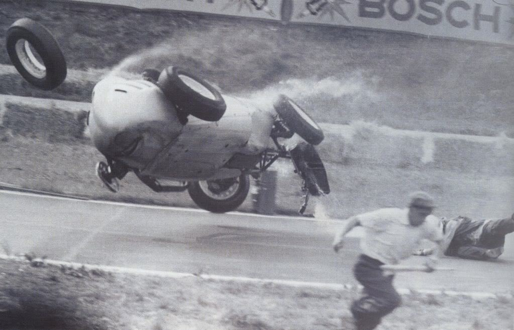 Hans Herrman German GP Crash 1959