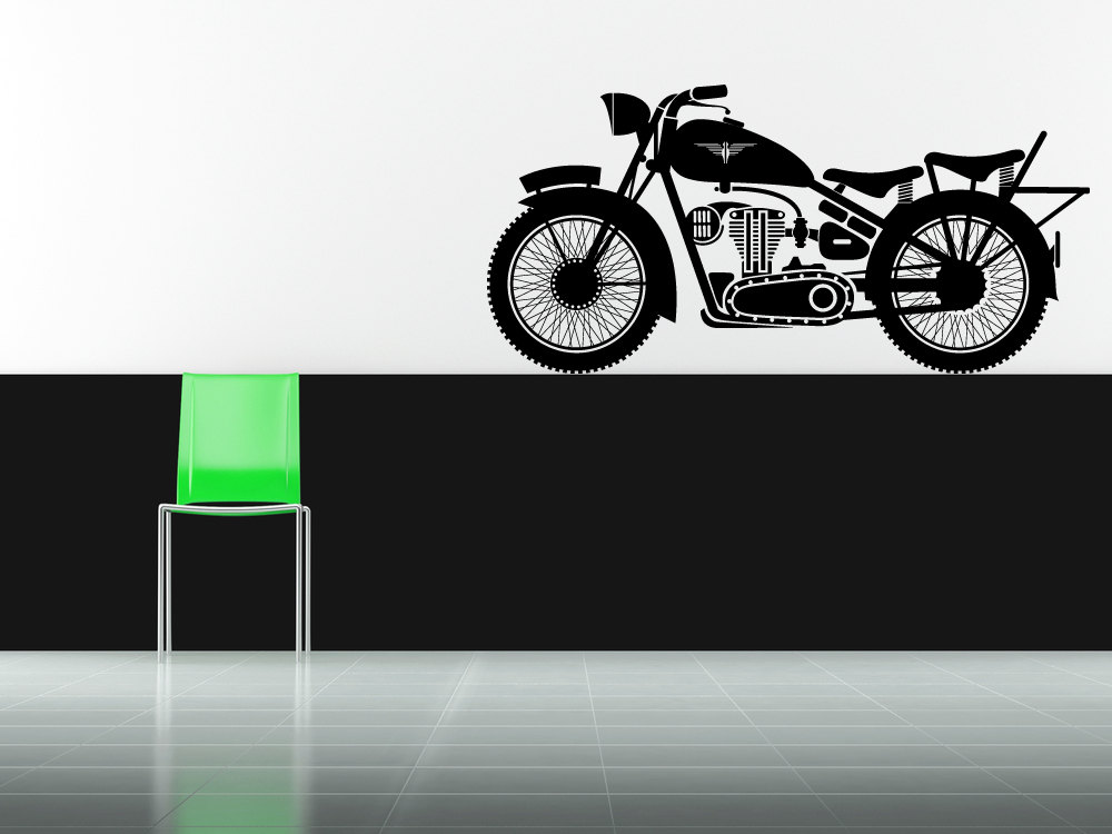 vinyl motorcycle wall decal silodrome. Black Bedroom Furniture Sets. Home Design Ideas