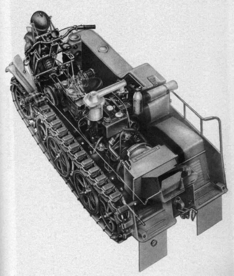 "SdKfz 2 but better known as the Kettenkrad Motorcycle Tank or ""Kleines Kettenkraftrad HK 101"" cutaway"