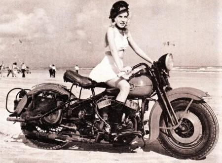 Blonde girl Harley 450x330 - Blonde on a Harley