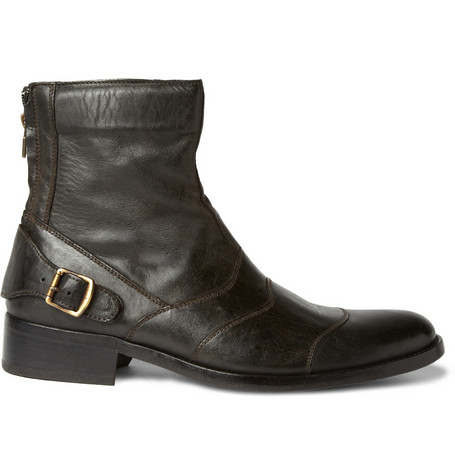 Distressed Leather Boots Belstaff Distressed Leather Boots by Belstaff