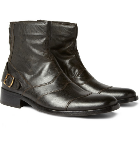 Distressed Leather Boots by Belstaff