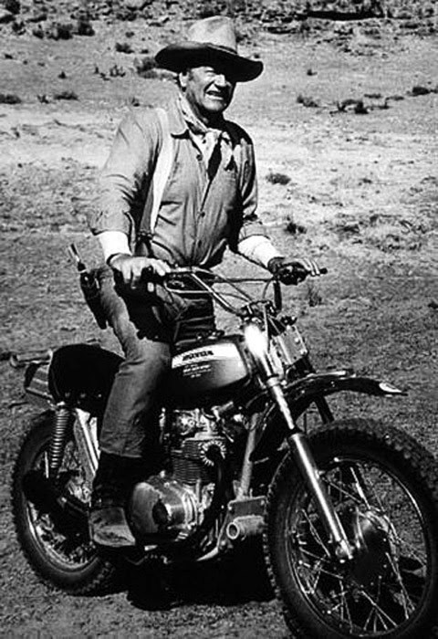 John Wayne on a motorcycle