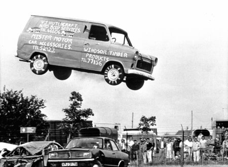 1985 Steve Matthews jumps over 15 cars for charity. 450x330 - Ford Transit Jump - Circa 1985