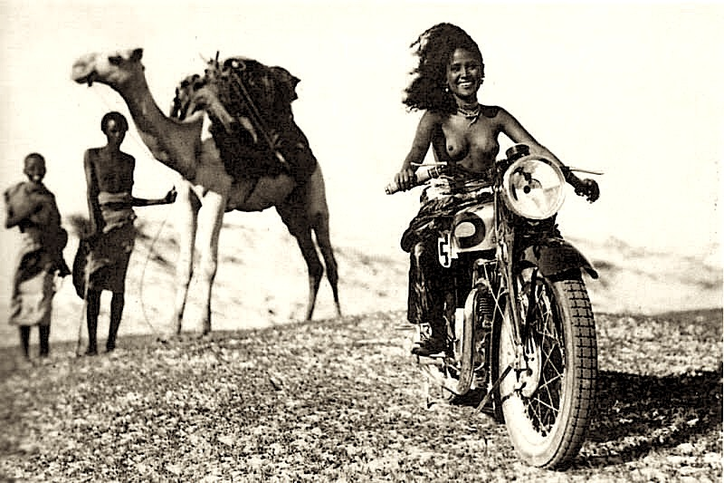 African Girl Motorcycle
