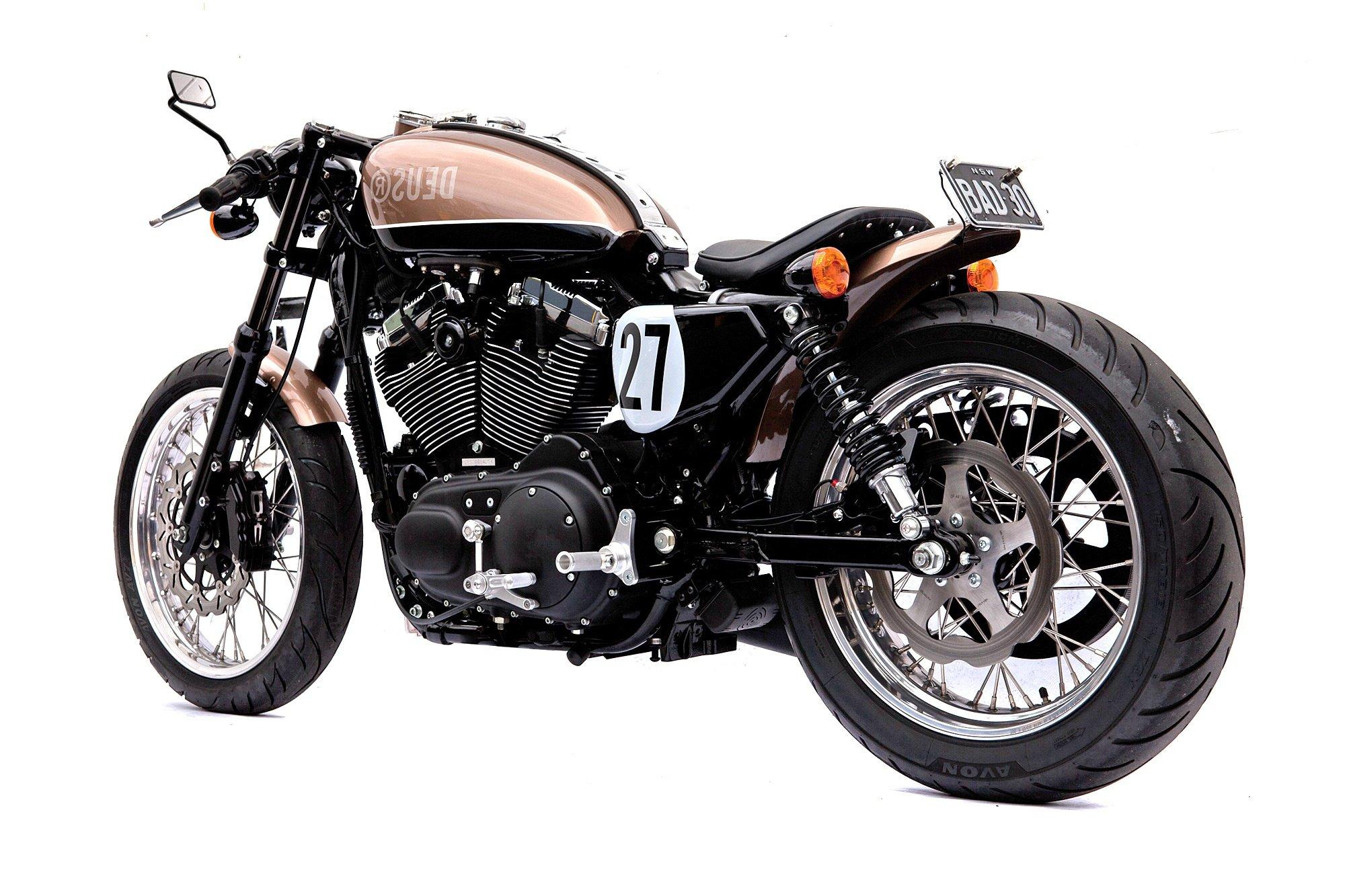 Deus Ex Machina Harley Motorcycle Bald Terrier