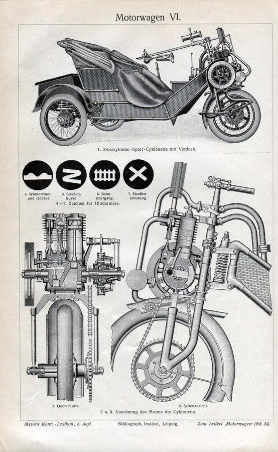 Motor Wagon Cycle Car Engraving Print