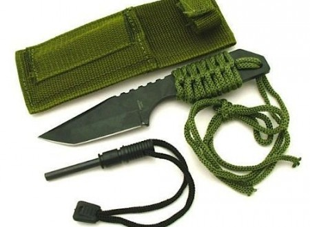"hunting survival knife fire starter 450x330 - 7"" Stainless Steel Survival Knife"