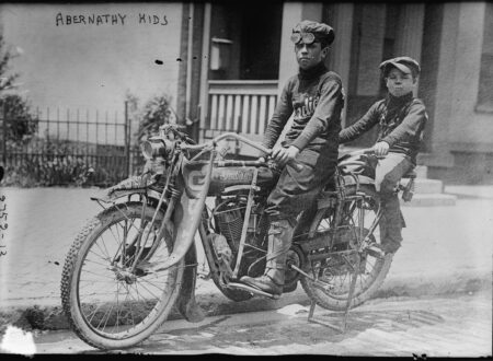 Abernathy Kids on Motorcycle 450x330 - Abernathy Kids on their Indian