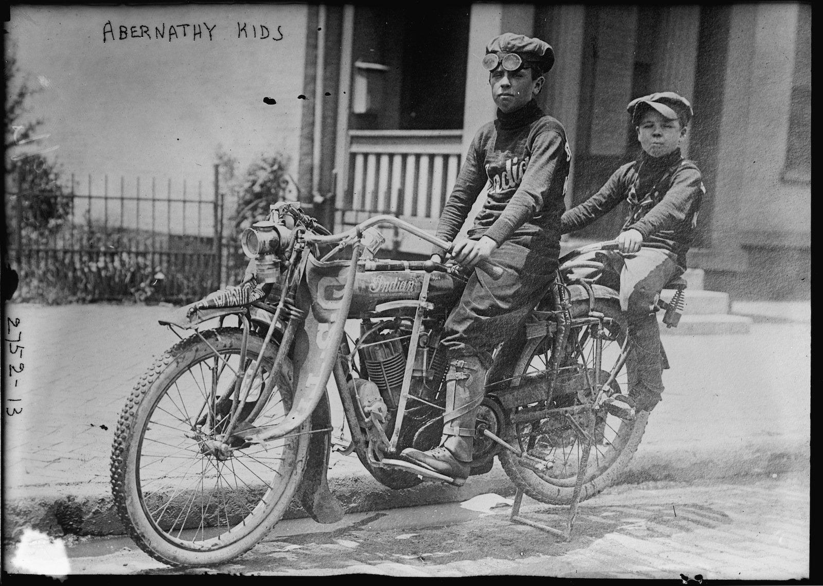 Abernathy Kids on Motorcycle Abernathy Kids on their Indian