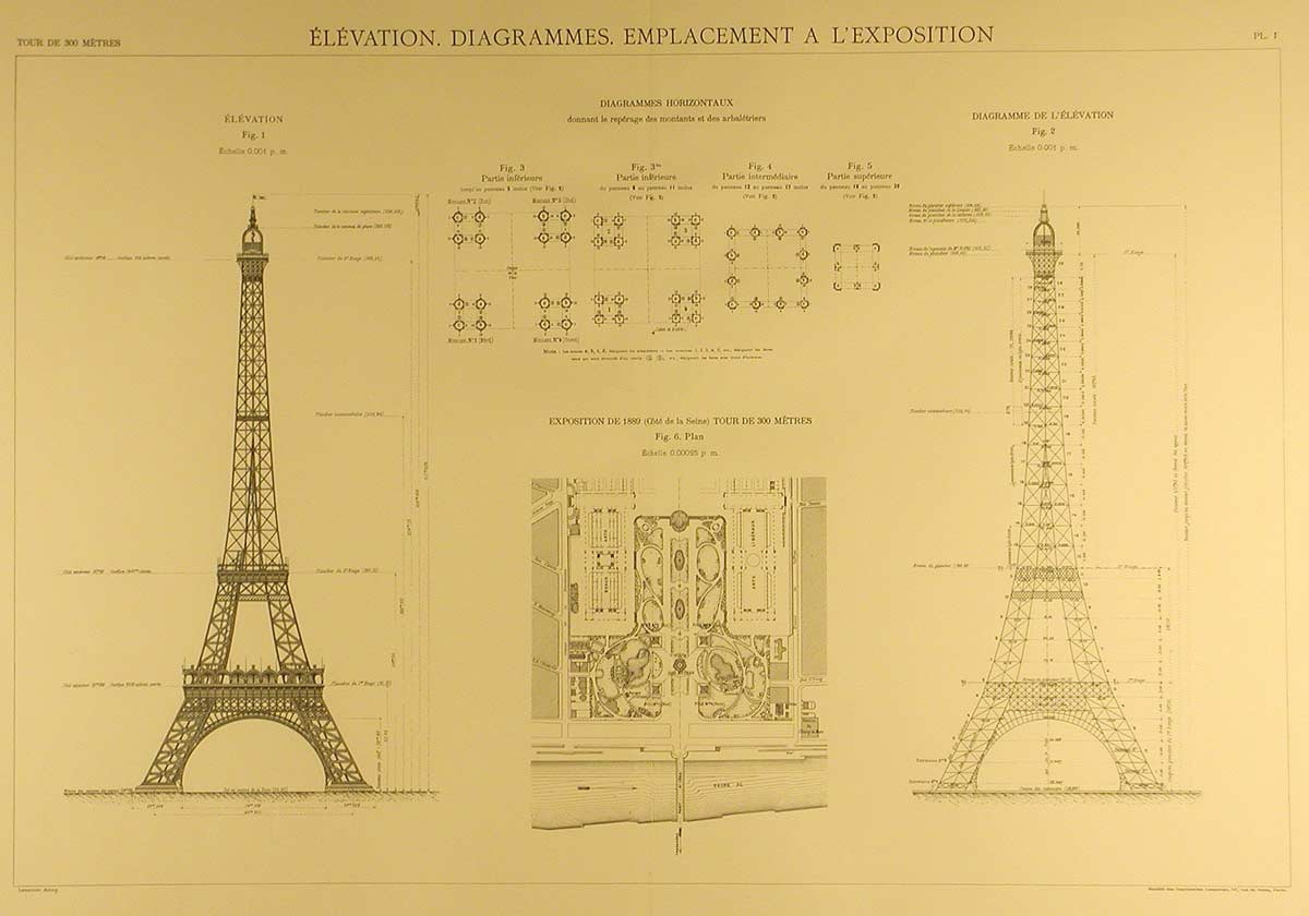 Eiffel Tower Blueprints Silodrome