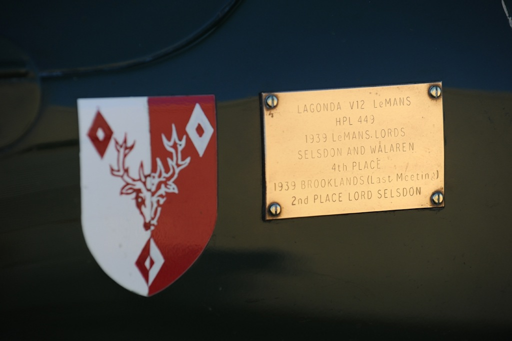 1939 Lagonda V12 ex-Lords Selsdon and Waleran Le Mans entry PLAQUE