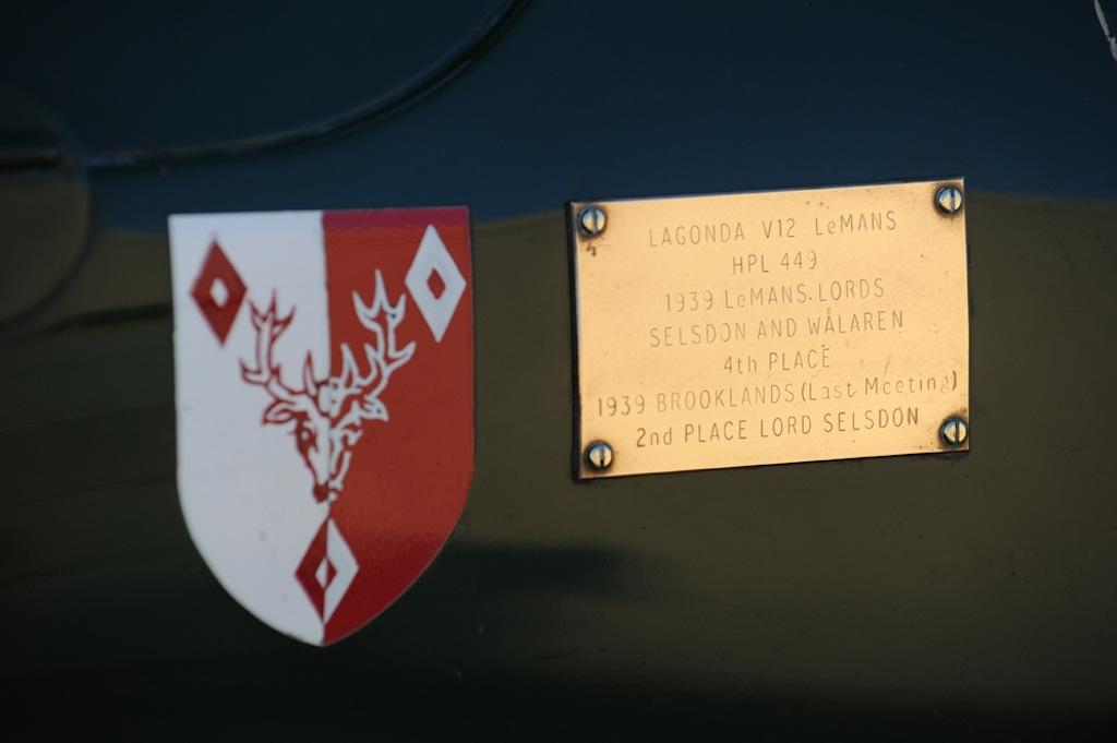 1939 Lagonda V12 ex-Lords Selsdon and Waleran Le Mans entry PLAQUE
