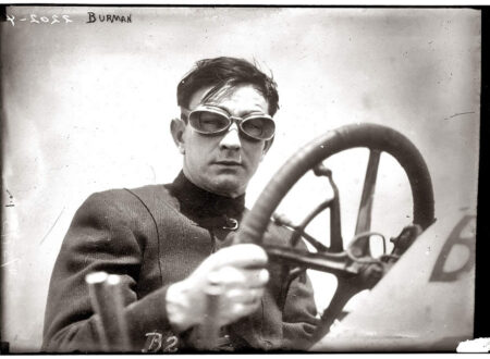 """May 25 1911. Bob Burman and his """"Blitzen Benz"""" a month after setting a world speed record in the car. 450x330 - Bob Burman and the Blitzen Benz"""