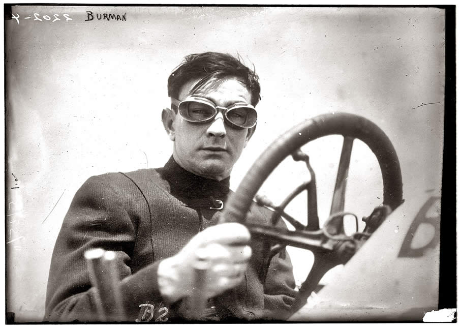 """May 25, 1911. Bob Burman and his """"Blitzen Benz,"""" a month after setting a world speed record in the car."""