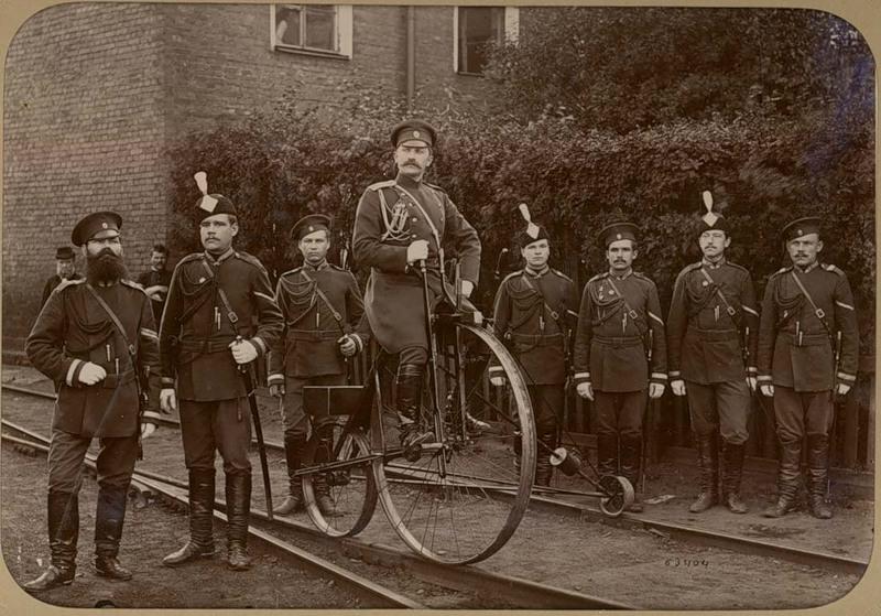 Russian Gendarmes Moscow ca.1890 Railway Penny farthing