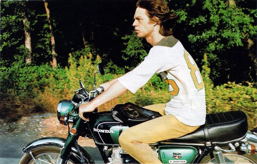mick jagger motorcycle Mick Jagger in the Saddle
