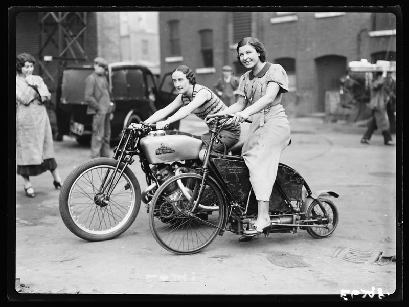 Ladies on Mystery Motorcycles