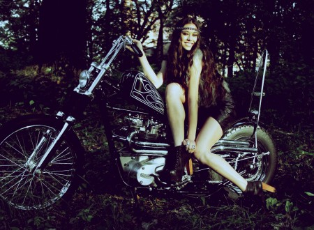 chopper motorcycle girl