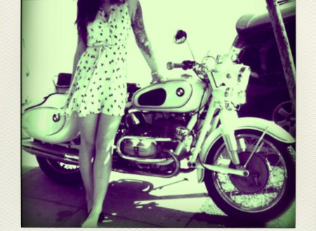 girl motorcycle 450x330 - BMW & A Summer Dress