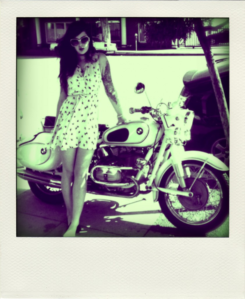 girl motorcycle 842x1024 BMW & A Summer Dress