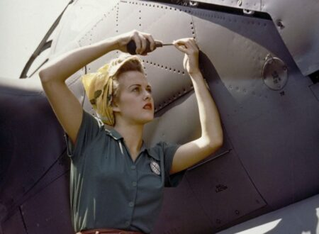 Female Lockheed employee working on a P-38 Lightning, Burbank, California, 1944