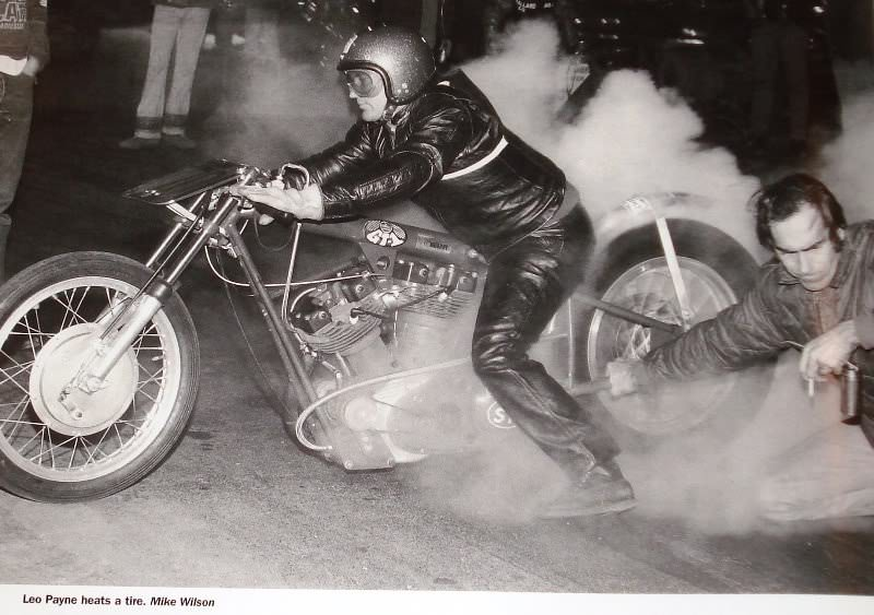 motorcycle drag racing Leo Payne Heats a Tire