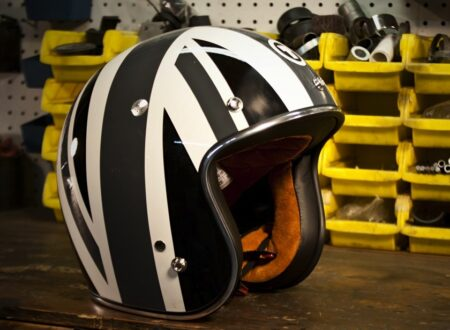 retro motorcycle helmet 450x330 - Grey Union Jack Helmet by Torc Helmets