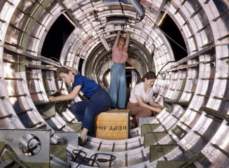 WWII Colour Photograph 450x330 - B17 Fuselage Workers