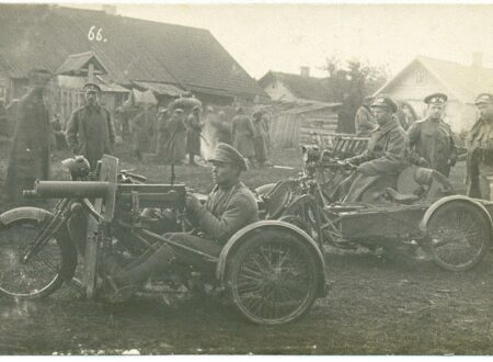 39th Tomsk infantry regiment with their motorcycle mounted machine guns during WW1 Russia 450x330 - Motorcycle-Mounted Machine Gun