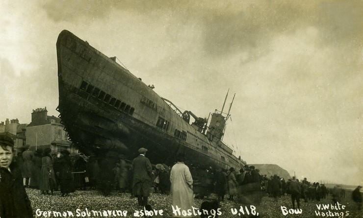 Sussex Hastings German Submarine U Boat U118 Bow in 1919 1280pix 740x445 The Beaching of Submarine SM U 118