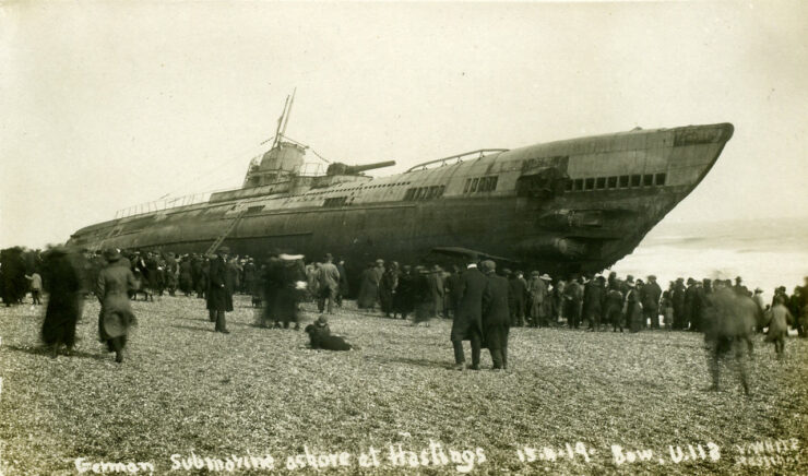 Sussex Hastings German Submarine U Boat U118 in 1919 1280pix 740x436 The Beaching of Submarine SM U 118