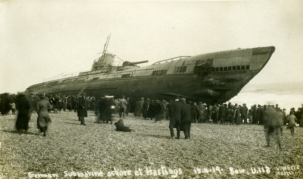 The Beaching of Submarine SM U-118 At Hastings