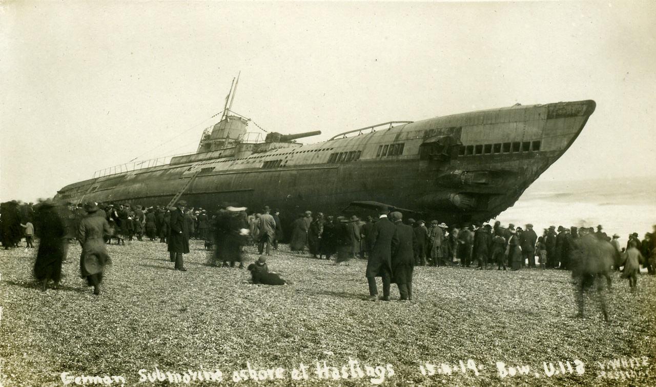 The Beaching of Submarine SM U-118 At Hastings