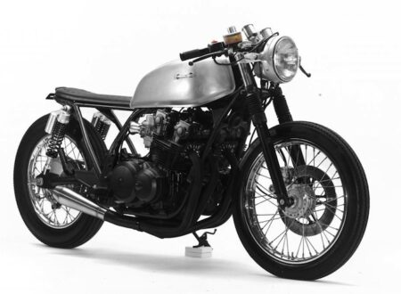 Honda CB750 Cafe Racer front right 450x330 - Honda CB750 Cafe Racer by Steel Bent Customs