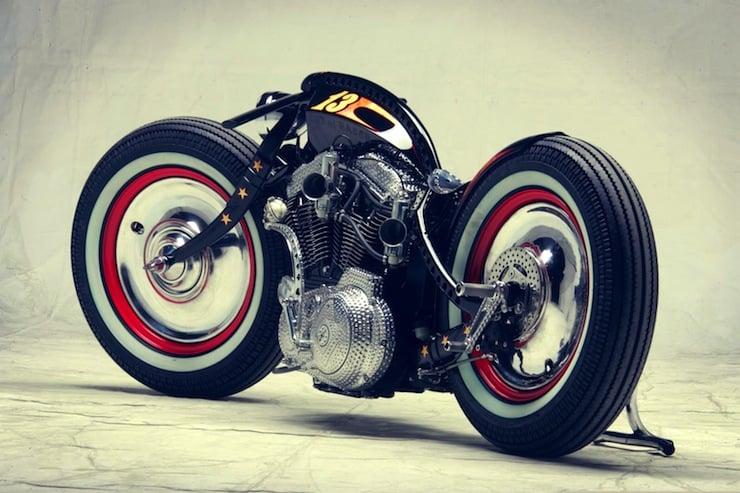 harley davidson custom motorbike rear
