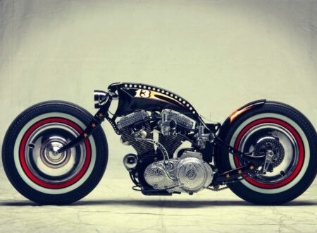 harley davidson custom motorbike side profile 450x330 - Harley-Davidson Sportster Custom by Art of Racer