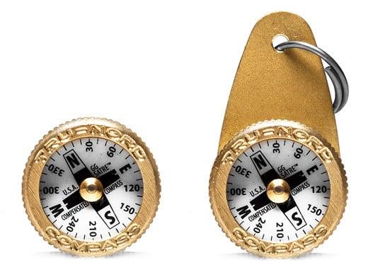 Everyday Carry Brass Compass Keyring