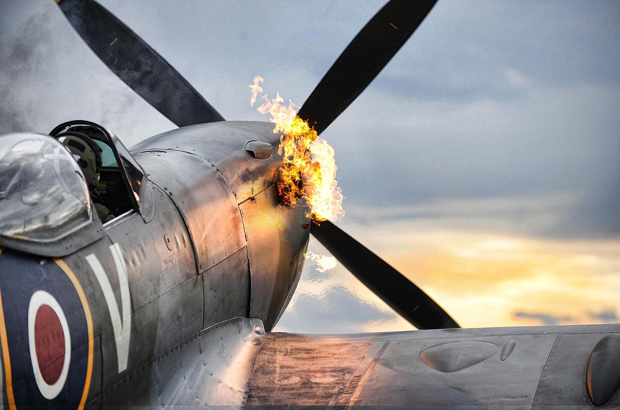 Merlin Engine Starts on a Supermarine Spitfire