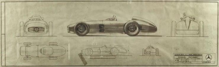 1954 Mercedes Benz W196R Formula 1 Blue Prints 1954 Mercedes Benz W196R Formula 1 Car