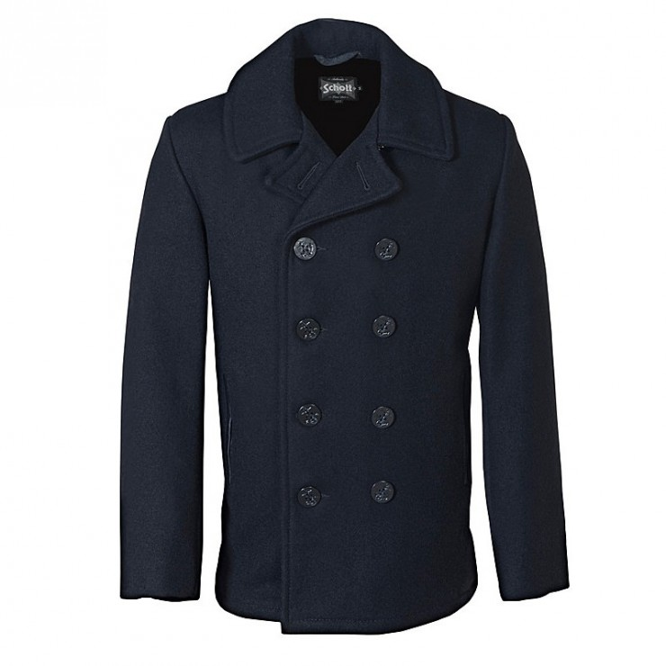 Slim Fitting Wool Peacoat by Schott
