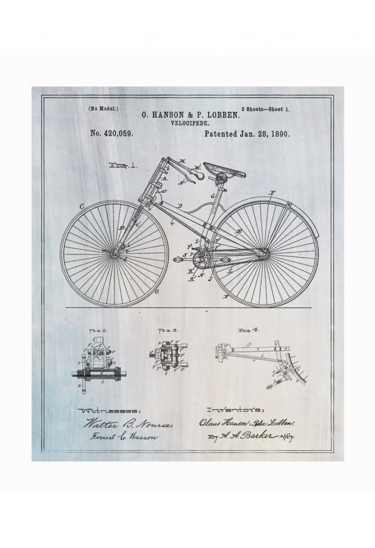 bicycle blueprints 740x1081 Vintage Patent Application Posters