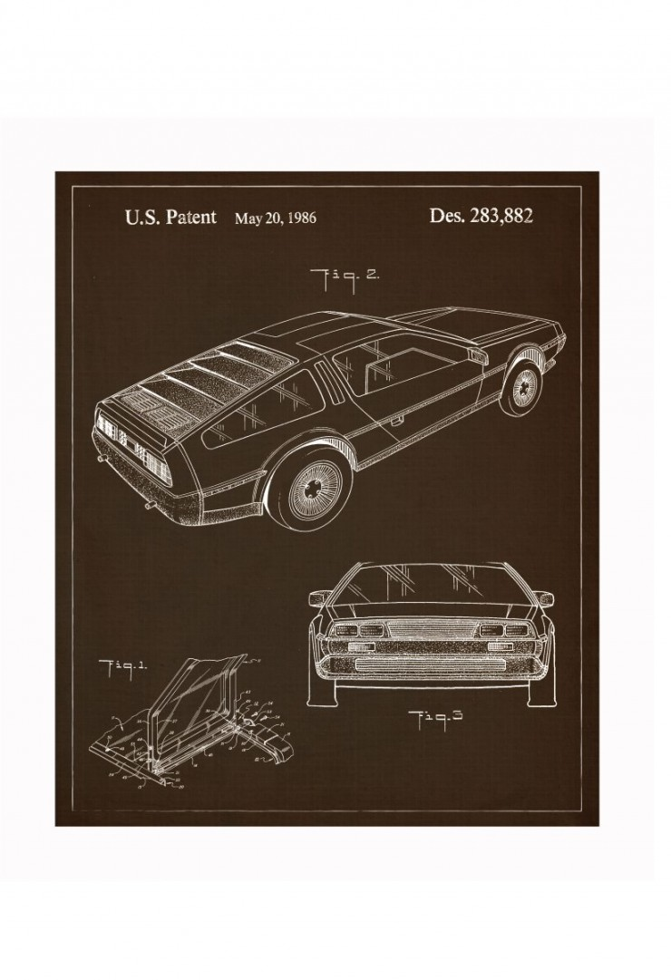 delorean blueprints 740x1081 Vintage Patent Application Posters