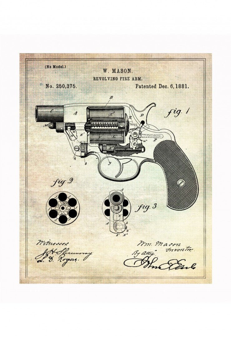 handgun blueprints 740x1081 Vintage Patent Application Posters