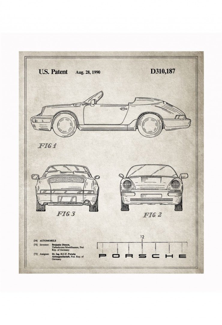 porsche blueprints 740x1081 Vintage Patent Application Posters